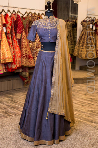Grey Raw Silk Lengha