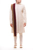 White Velvet Applique Sherwani