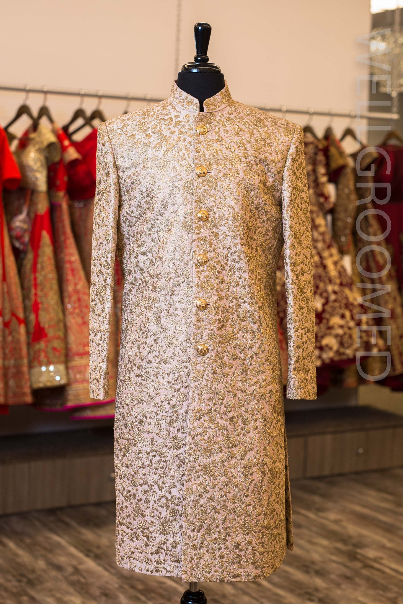 Blush Pink Raw Silk Sherwani