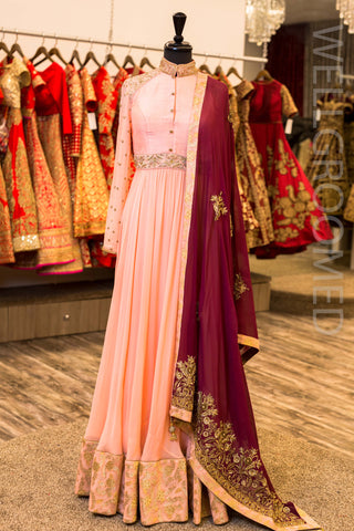 Salmon Pink Georgette Anarkali