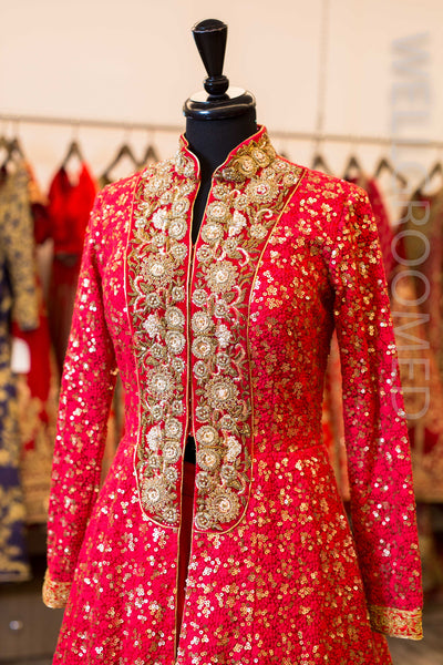 Red Resham and Sequins Jacket Lacha