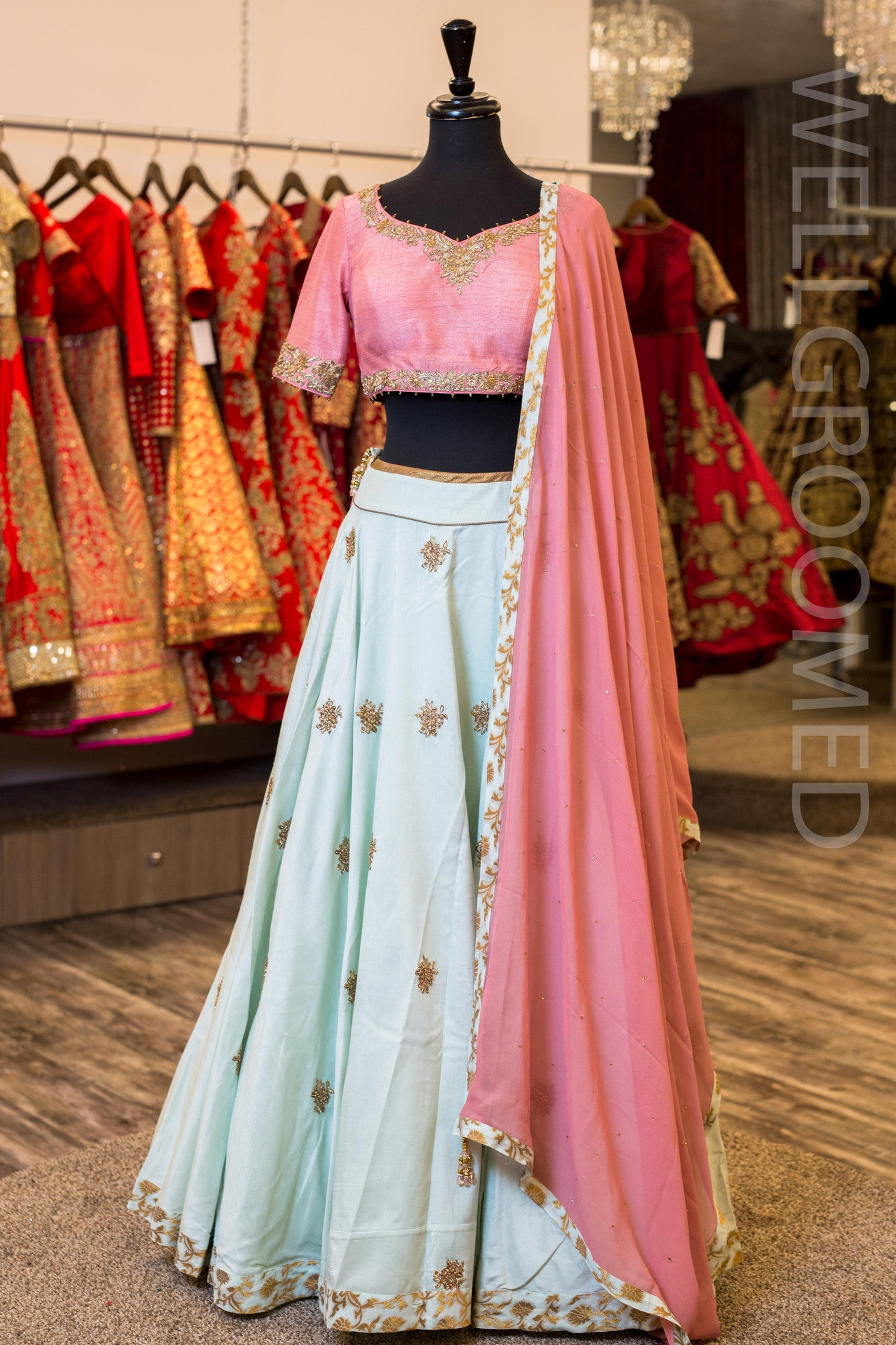 Pink and Pastel Blue Raw Silk Lengha