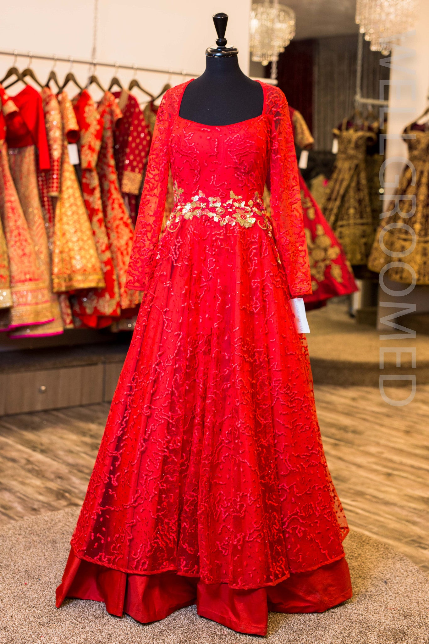 Red Chantilly Lace 2 Tier Gown