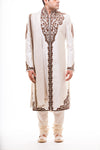 White Self On Self Brocade Sherwani