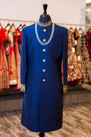 Navy Blue Silk Sherwani