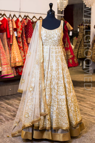 Champagne Gold 2 Tier Anarkali