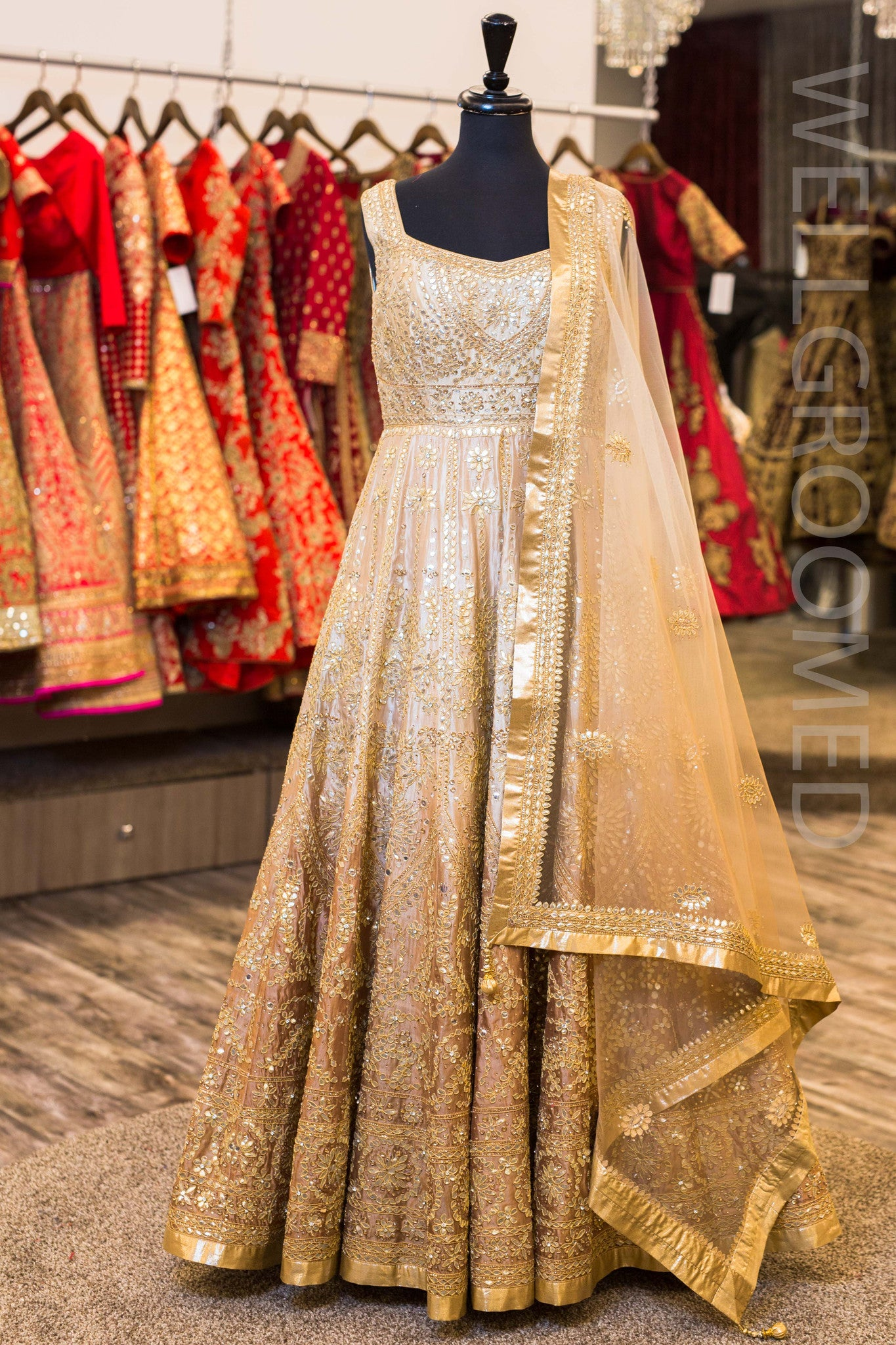 Gold Ombre Gota Patti Anarkali