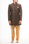 Black Silk Brocade Sherwani