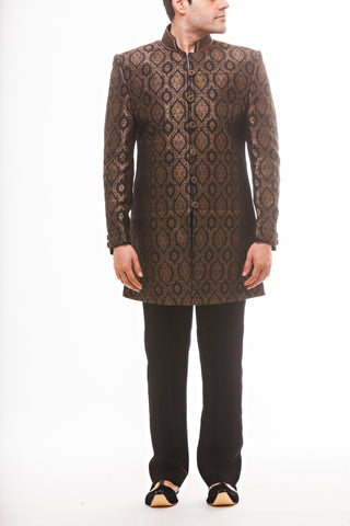 Black Silk Brocade Sherwani - Black Dress Pants