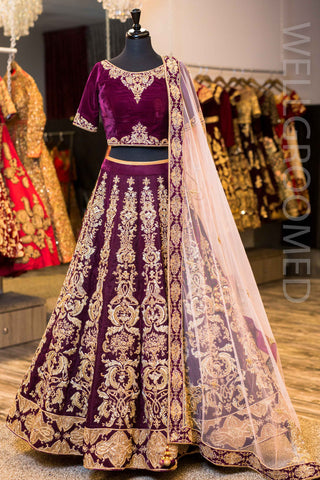 Deep Purple Velvet Lengha