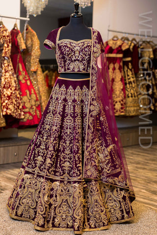 16 Panel Deep Plum Velvet Lengha