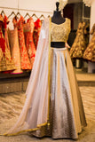 Mocha Lengha with Embroidered Blouse