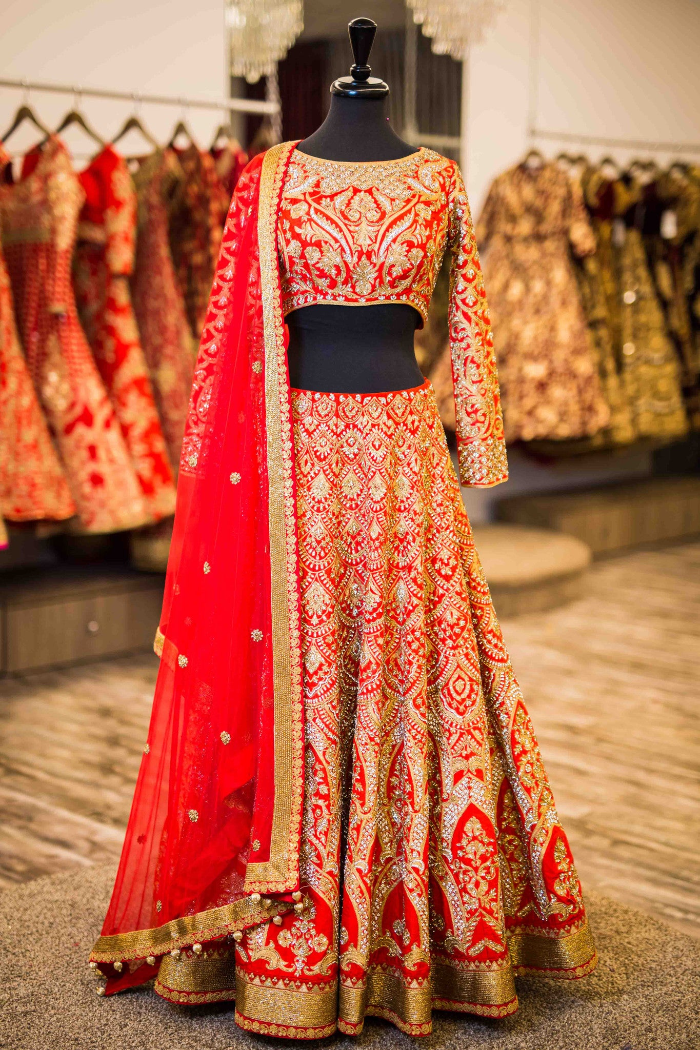Red Scalloped Bridal Lengha