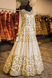 White and Gold Reception Gown