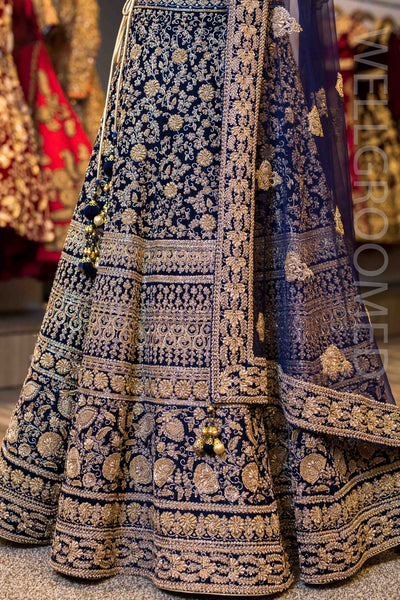 Navy Blue Velvet High Neck Lengha
