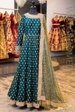Dark Green Raw Silk Anarkali