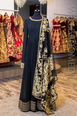 Black Georgette Anarkali W/ Embroidered Dupatta