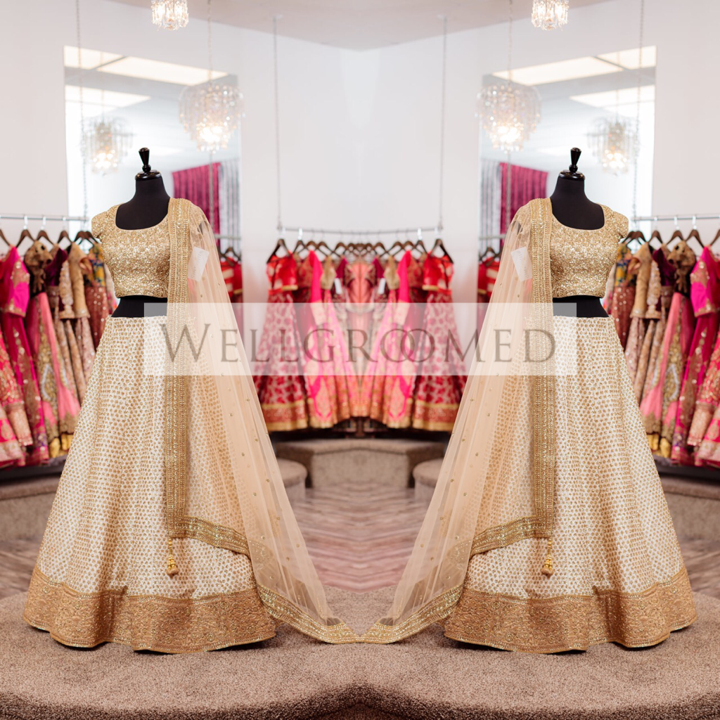 Off White - Gold Bridal Lehenga
