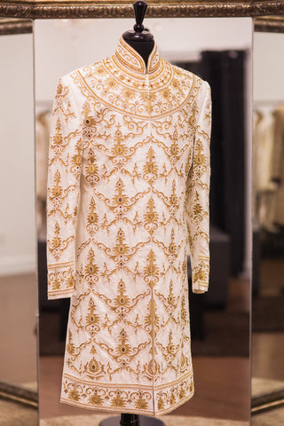 Tussar Silk Off White - Gold Sherwani