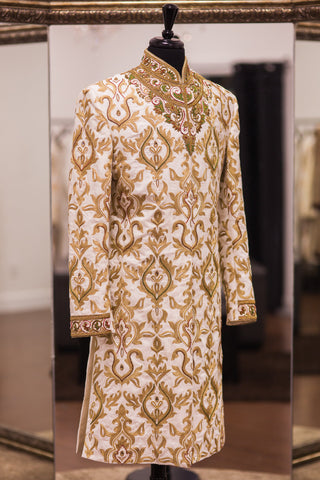 Tussar Silk Off White - Antique Gold Sherwani
