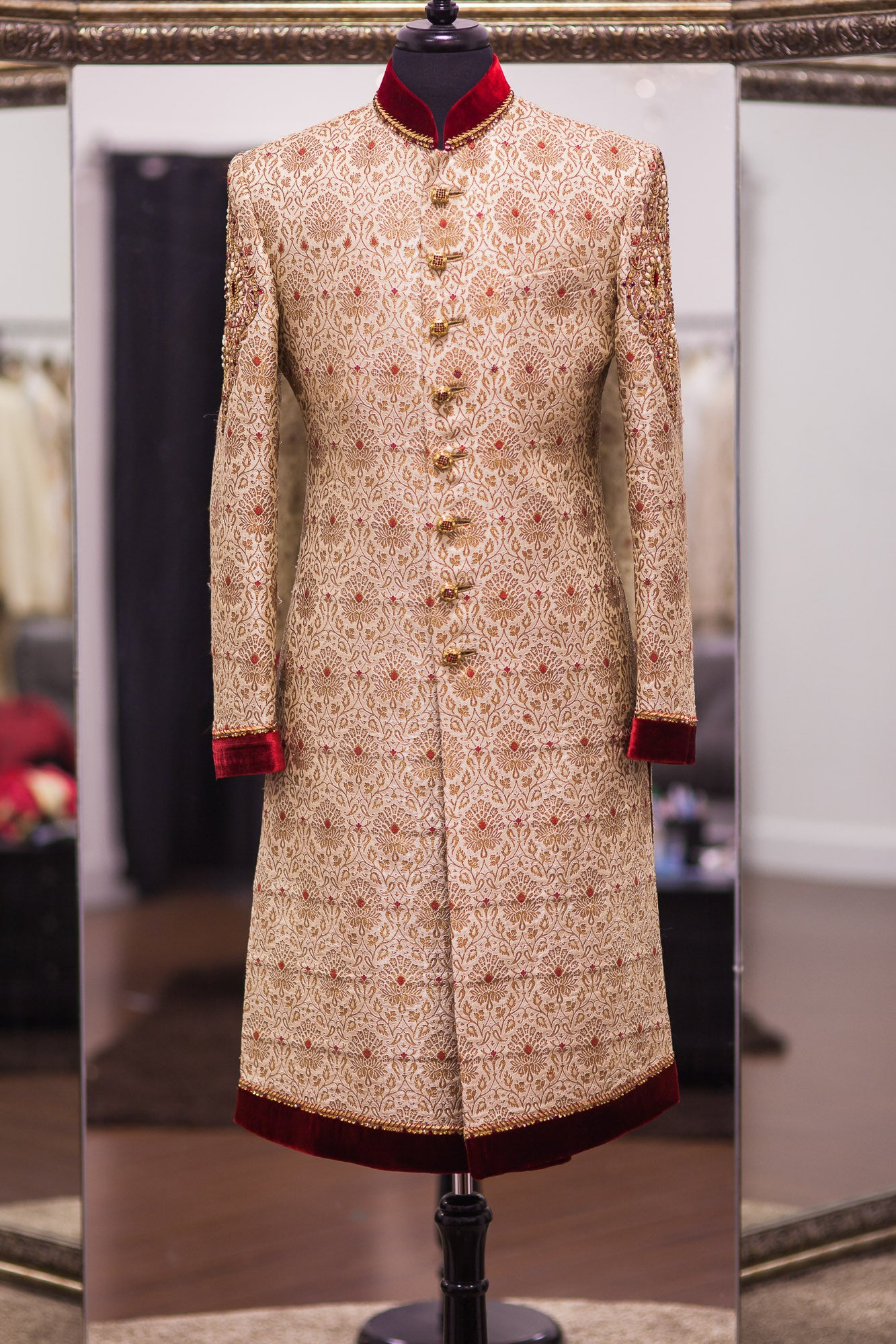 Beige Linen Silk Sherwani with Red Accents
