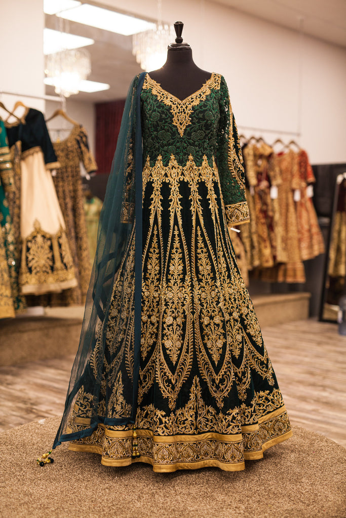 Forest Green Anarkali with Gold Embroidery