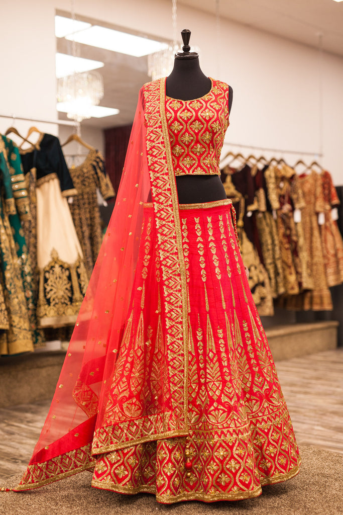 Raspberry Bridal Lengha with Gold Embroidery