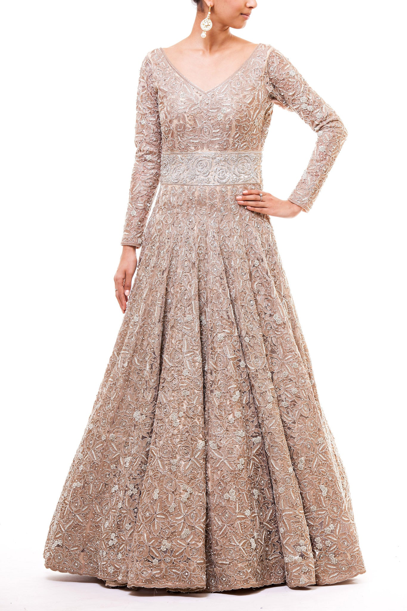 Champagne Mocha Reception Gown