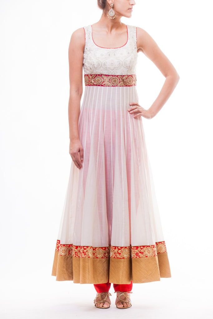 White Chanderi Silk Anarkali With Leopard Print Dupatta