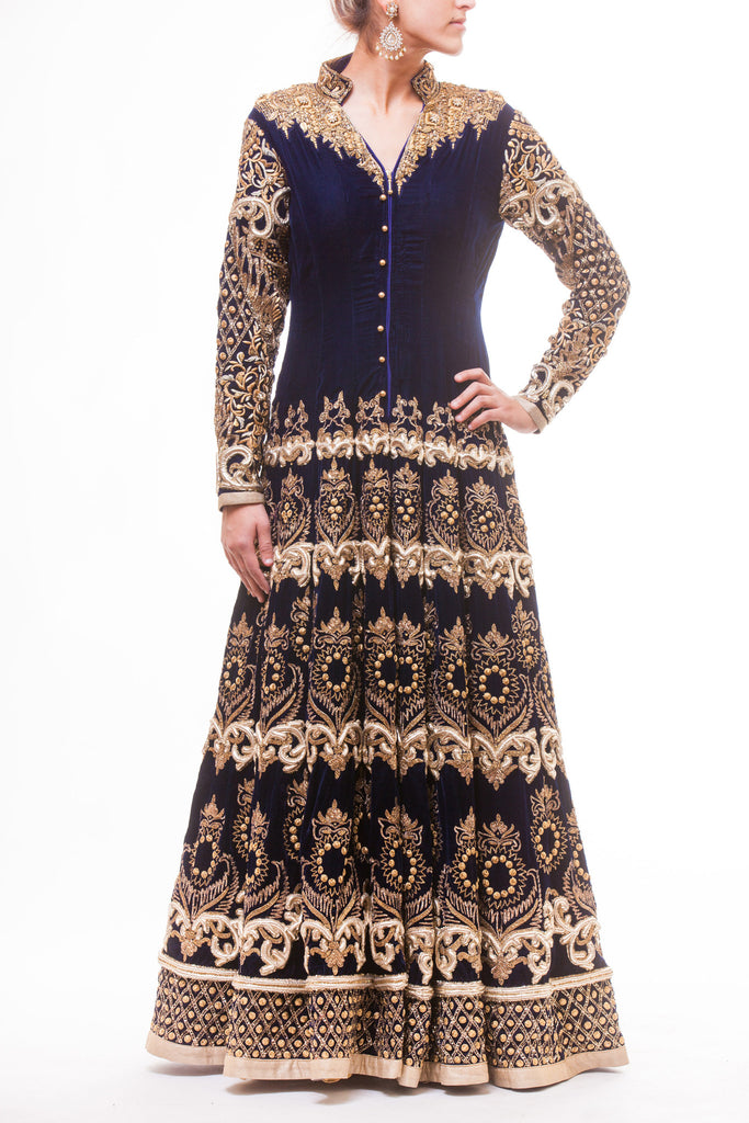 Beautiful Navy Blue Silk Velvet Lacha