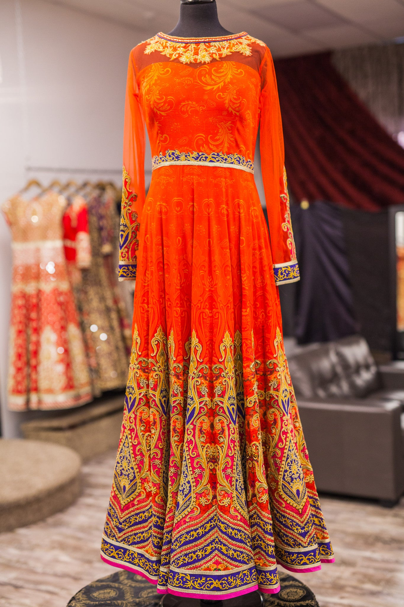Tangerine Couture Anarkali
