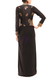 Black High Neck Draped Lycra Gown