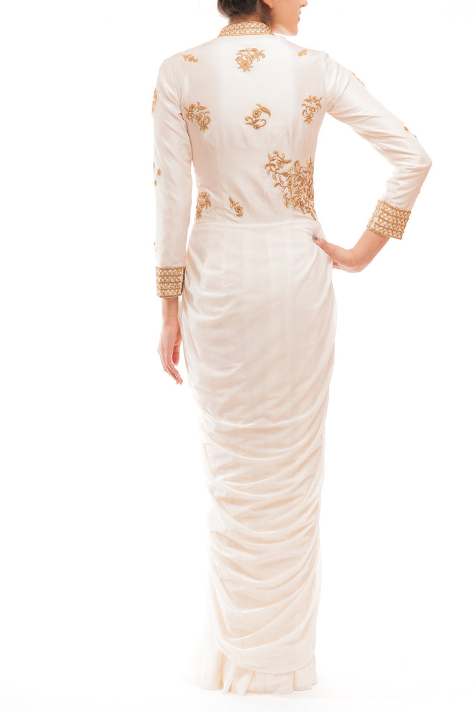 Off White High Neck Draped Lycra Gown