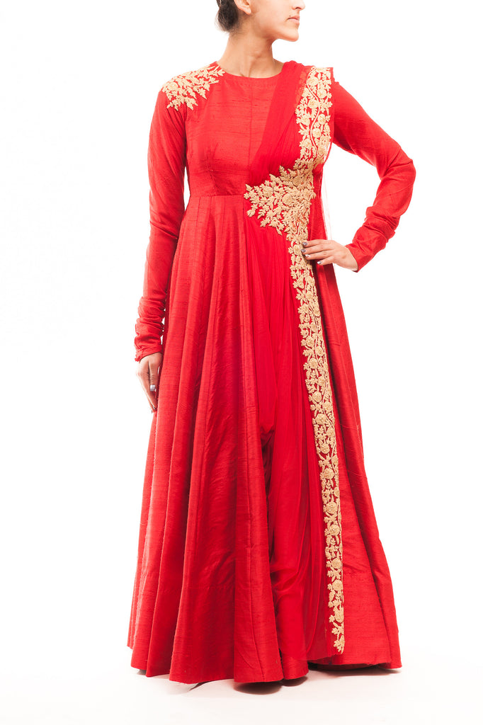 Red Raw Silk Dori Work Anarkali Gown