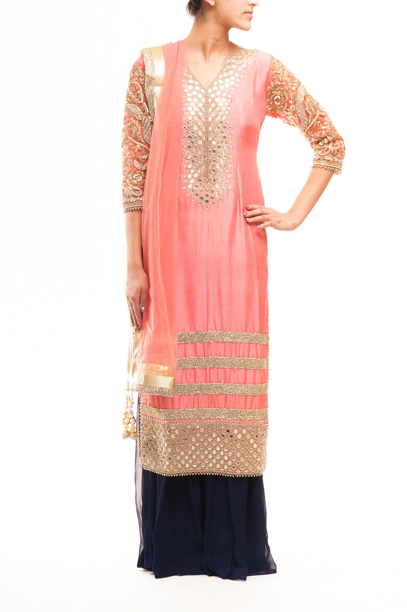 Salmon Dupion Silk Mirror Work Pakistani Style Suit