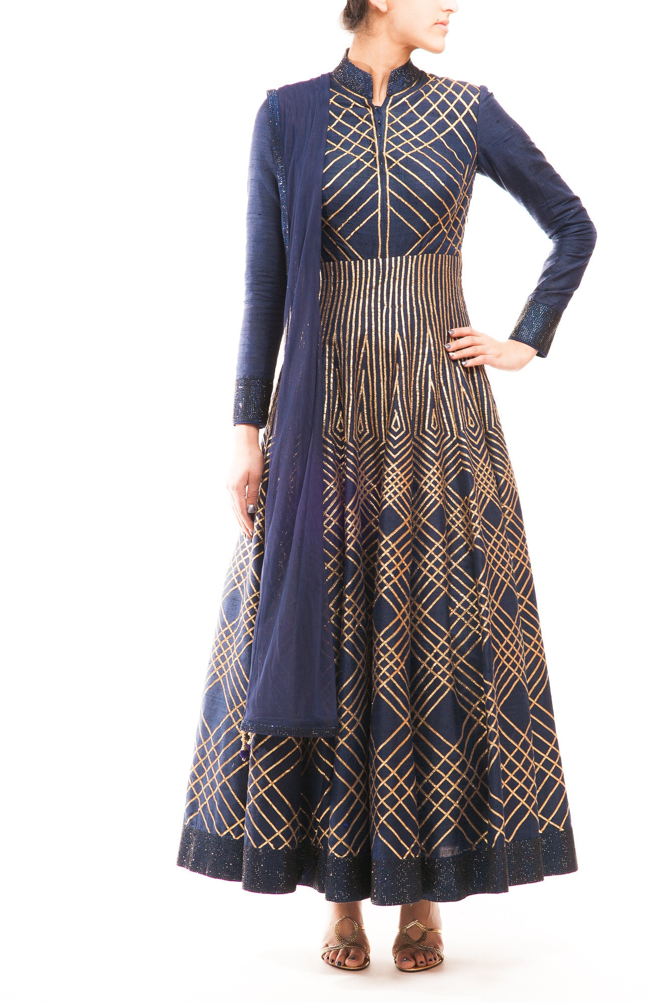 Midnight Blue Geometrical Embroidery Anarkali Gown - WellGroomed ...