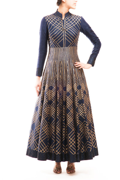 Midnight Blue Geometrical Embroidery Anarkali Gown