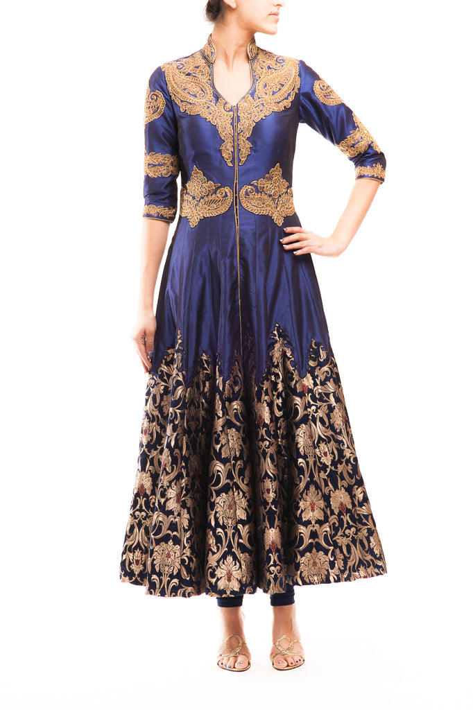 Midnight Blue Satin Silk - Khinkhab Patch Anarkali