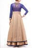 Midnight Blue - Beige Banarsi Anarkali