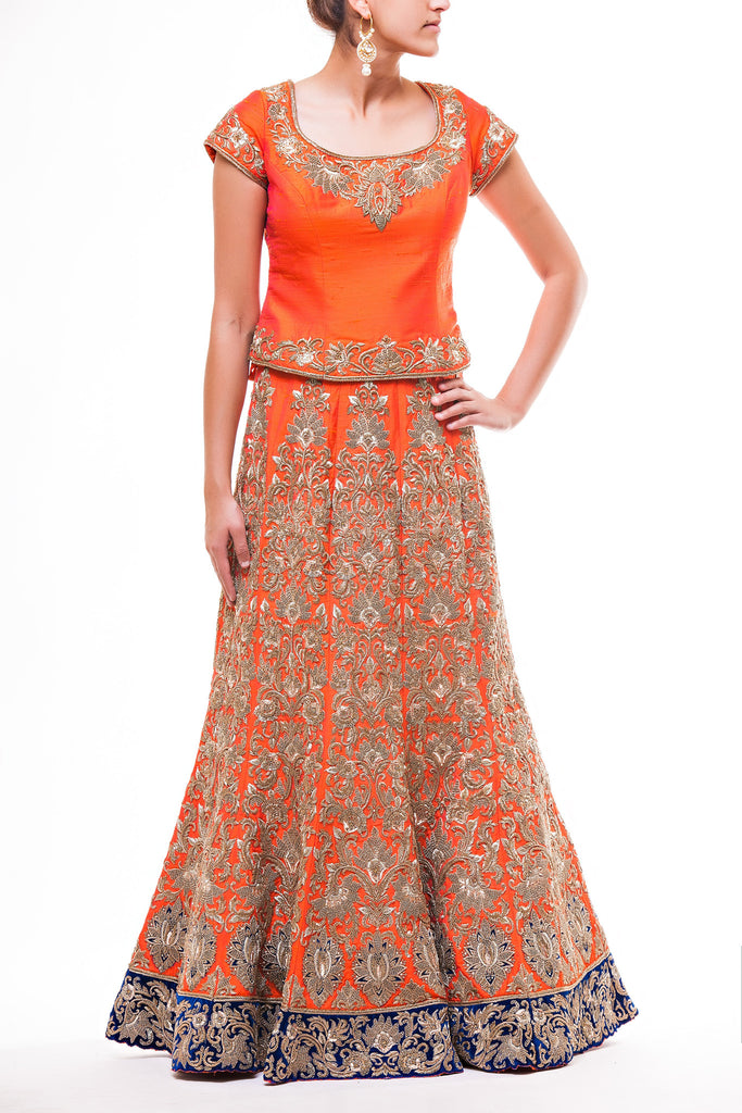 Tangerine Orange Bridal Lehenga