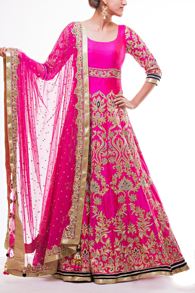 Hot Pink Floor Length Bridal Anarkali