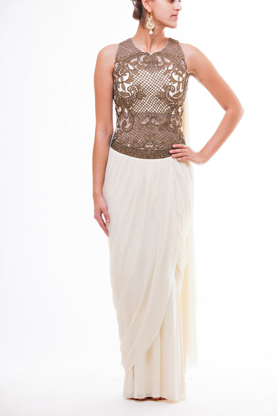 Champagne Dhoti Saree Gown