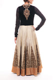 Beautiful Black Velvet - Gold Brocade Anarkali