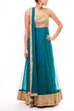 Gold - Teal Blue Mirror Work Anarkali