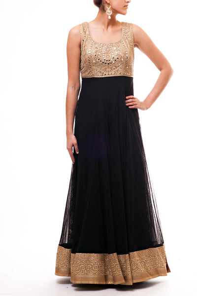 Gold - Black Mirror Work Anarkali
