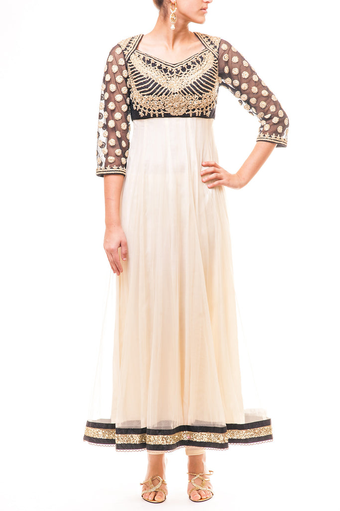 Black - Beige Dori Work Anarkali