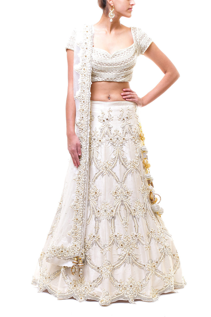 Off White Pearl Embellished Reception Lehenga