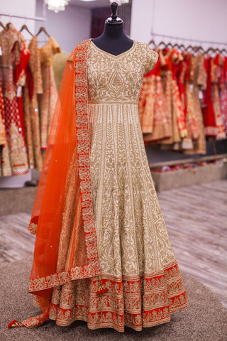 Off White Silk Anarkali With Red Dupatta