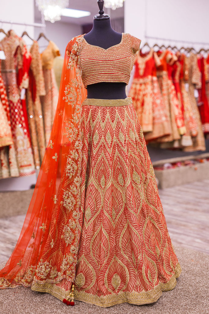 Red and Champagne Feather Design Lengha