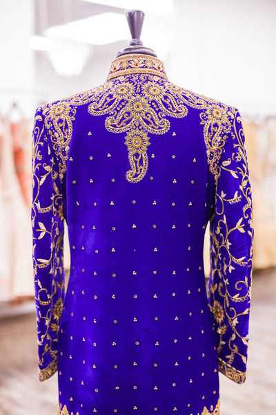 Royal Blue Embroidered Sherwani